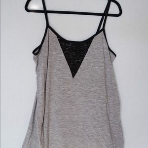 Grey and Black Lace Old Navy Tank Top - Large Tall